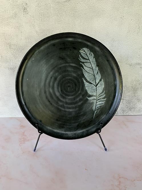 Black Ceramic Feather Plate