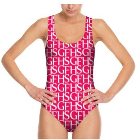 Saint George Fashion House Signature Print Plunge Swimsuit