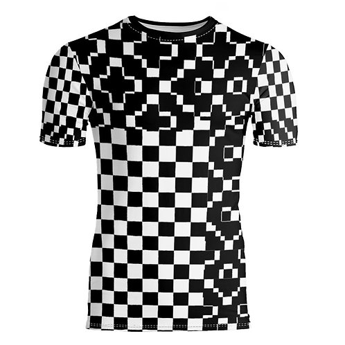 Saint George Fashion House Checked Black/White Bespoke Short Sleeve T-Shirt