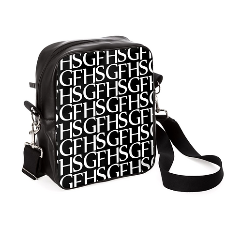 SGFH Logo Black Leather Messenger Bag