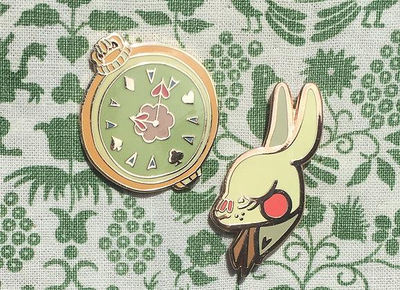 White Rabbit & Timepiece Pins