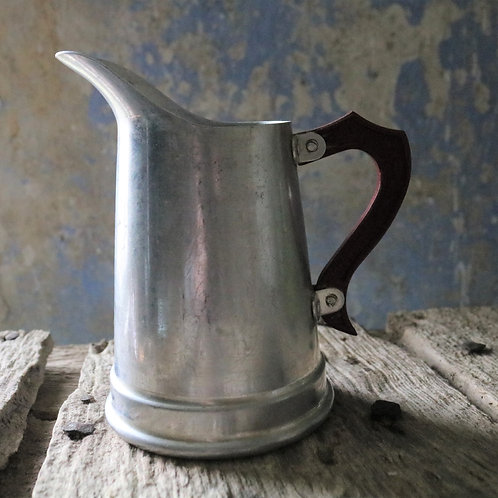 French Vintage Aluminium Jug with Red Bakerlite Handle