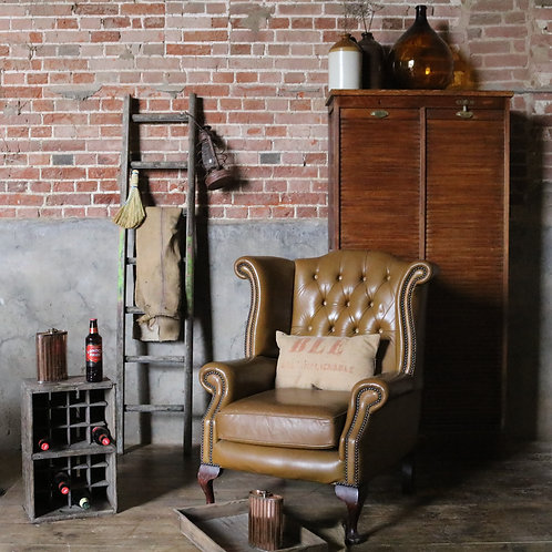 Chesterfield Style Leather Wingback Chair