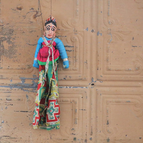Vintage Traditional Rajasthani India String Puppet Female