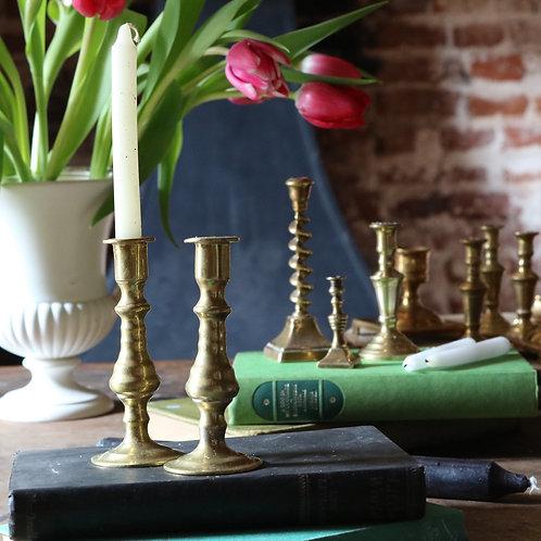 Small Antique Brass Candlesticks