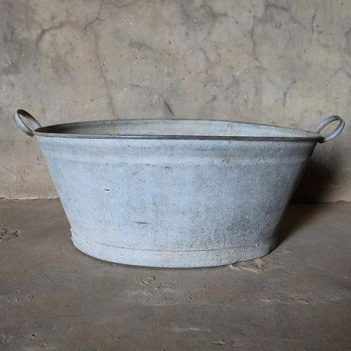 Large Vintage Galvanised Oval Zinc Metal Bath Tub Garden Planter