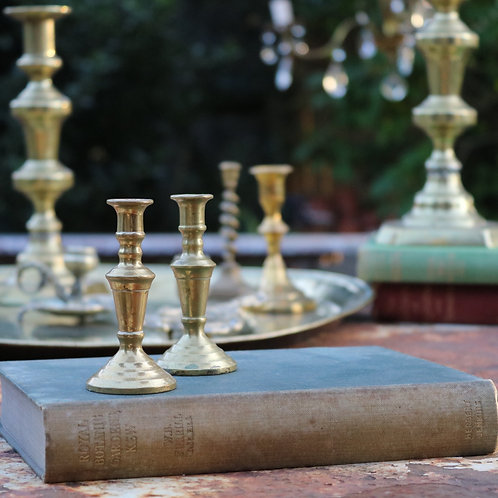 Small Vintage Brass Candlesticks