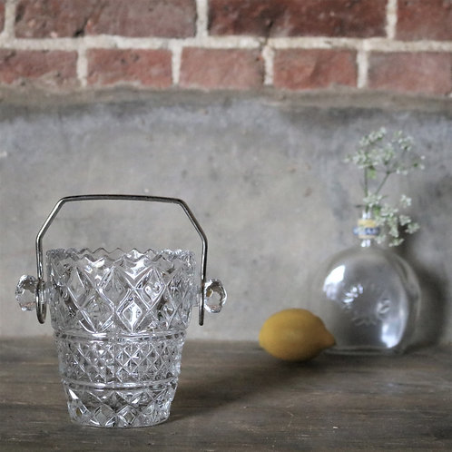 Vintage French Cut Glass Ice Bucket