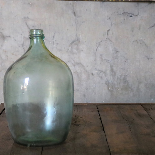 French Vintage Pale Green Glass Carboy Bottle