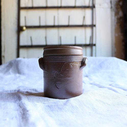 Small Lidded Vintage Stoneware Jar