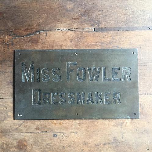 Original Brass Dress Makers Plaque Miss Fowler