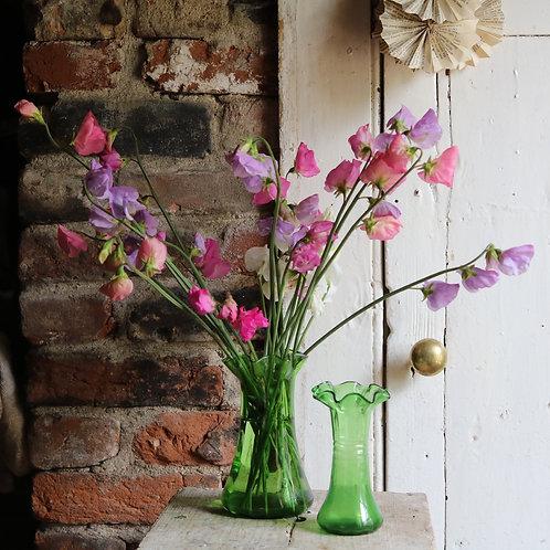 Pretty Vintage Handblown Green Glassware Vases Pair