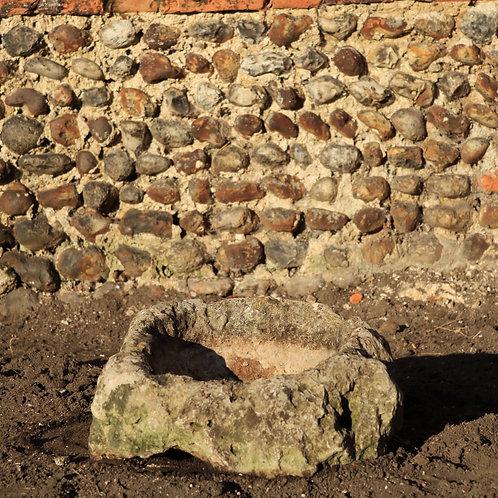 Small Antique Round Hand Cut Stone Trough