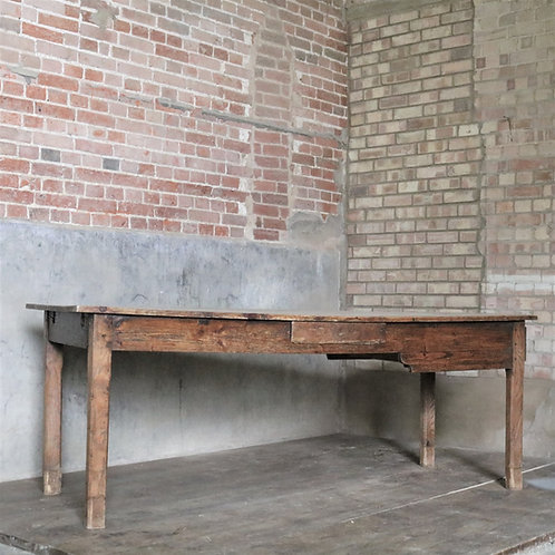 Antique French Farmhouse Table with Bread Drawer