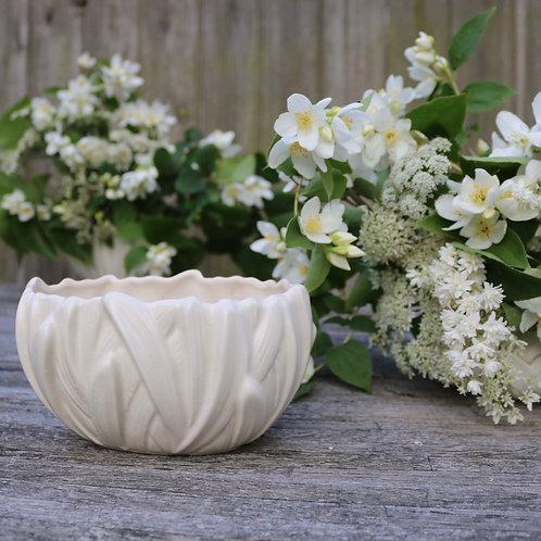 Sylvac White Leaf Vase Planter Vintage