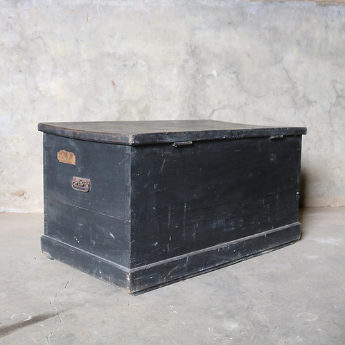 Vintage Black Painted Chest Trunk Blanket Box Pine