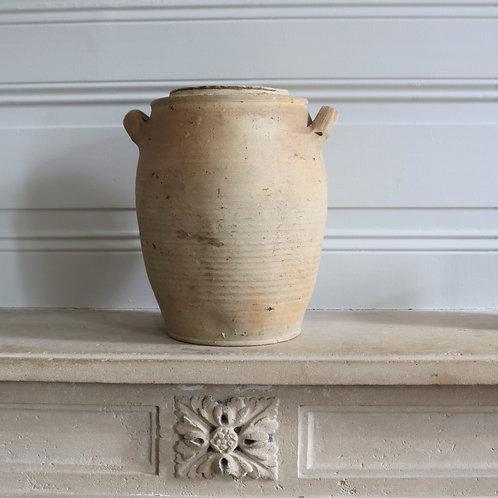 Medium French Vintage Pale Preserving Confit Jar Pot