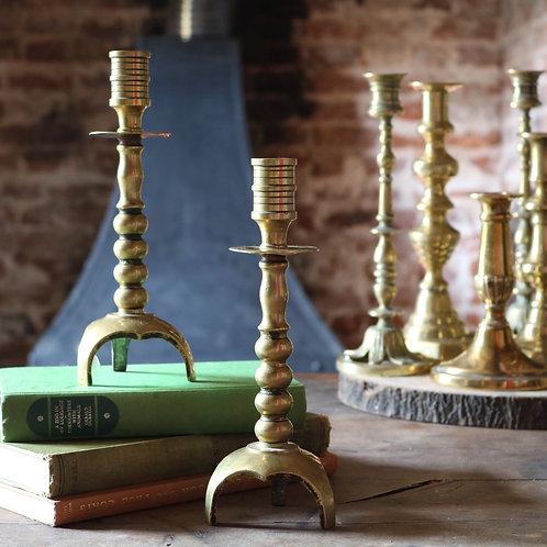 Antique Aged Brass Candlesticks