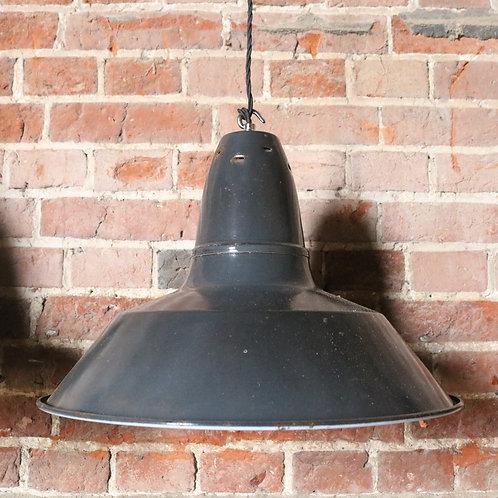 Original Grey Enamel Factory Pendant Shades