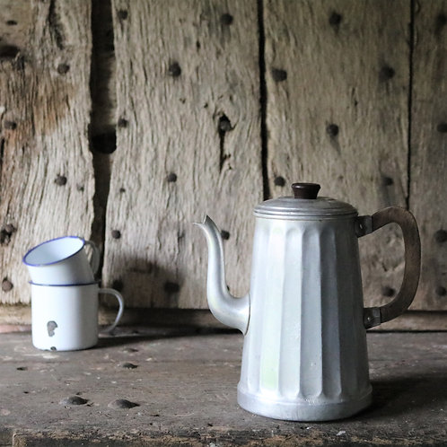 French Vintage Aluminium Ribbed Coffee Pot