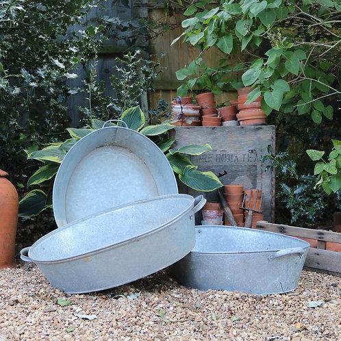Galvanised Zinc Oval Pan Planters