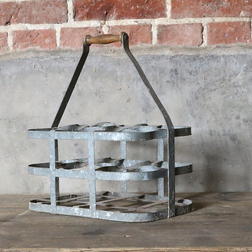 Galvanised French Vintage Bottle Carrier