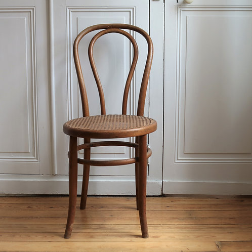 French Vintage Bentwood Cafe Chair with Rattan Seat Thonet Style