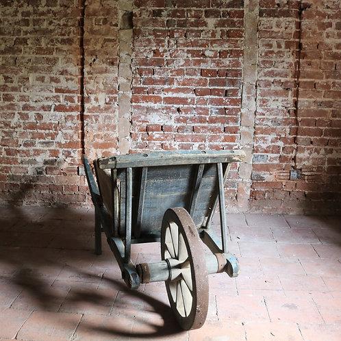 Antique French Rustic Wheelbarrow Blue