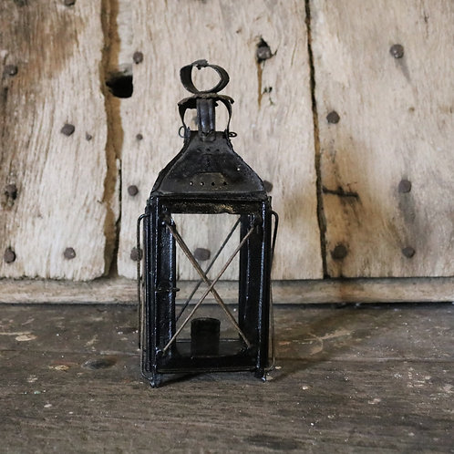 Antique French Country Rustic Metal Lantern