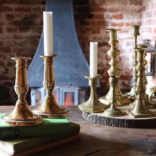 Antique Georgian Oval Cast Urn Candlesticks Holder