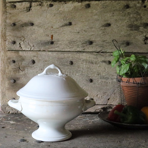 French Antique White Tureen Soupier