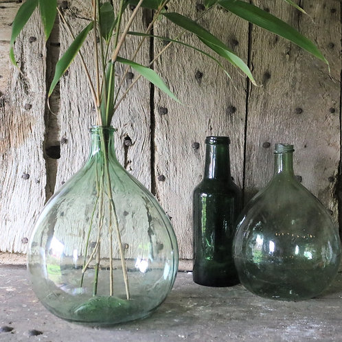 Small Green French Vintage Glass Bottle Carboy