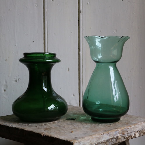 Antique Victorian Hyacinth  Vases Green