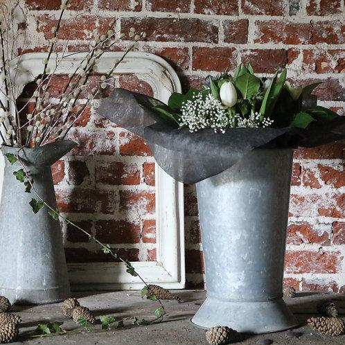 Vintage Galvanised Zinc  Flower Bucket