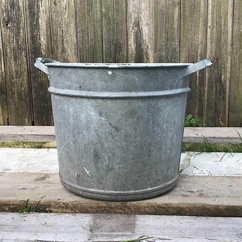 Vintage Galvanised Planter Tub Container Pot