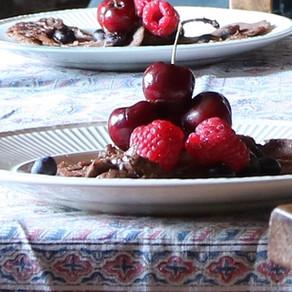 Pancake Day; healthy buckwheat chocolate pancakes with chocolate avocado sauce