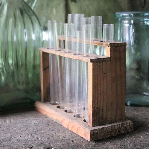 Vintage Science Lab Test Tube Rack Holder +  Test Tubes