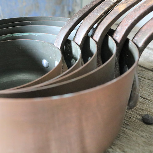 French Vintage Copper Saucepans