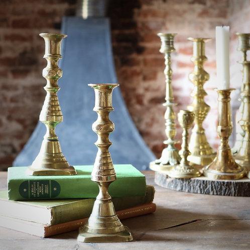 Antique Brass Candlesticks - Pair