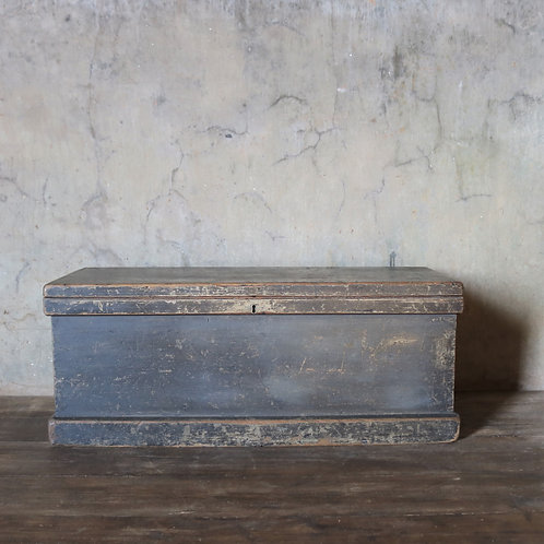 Victorian Black Wooden Trunk Chest