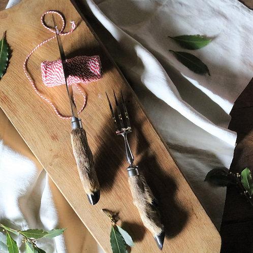 French Vintage Taxidermy Deer Hoof Carving Knife Set
