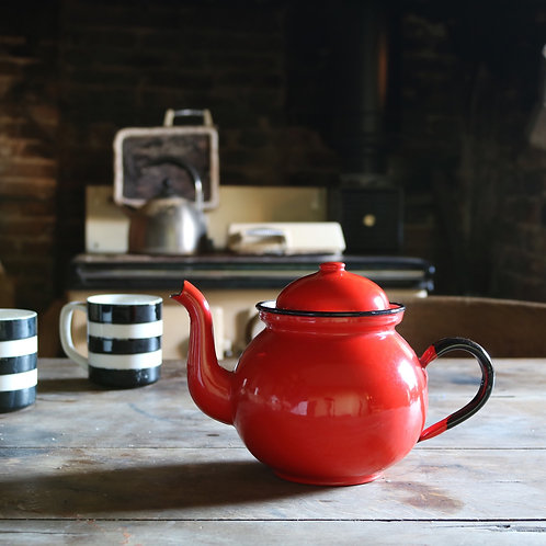 Small Red Vintage Enamel Teapot