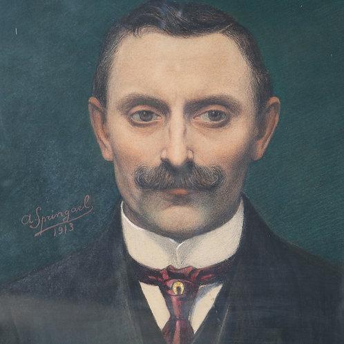 Original Portrait of a Man Pastel A. Springael 1913