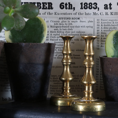Small Vintage Brass Candlesticks Pair