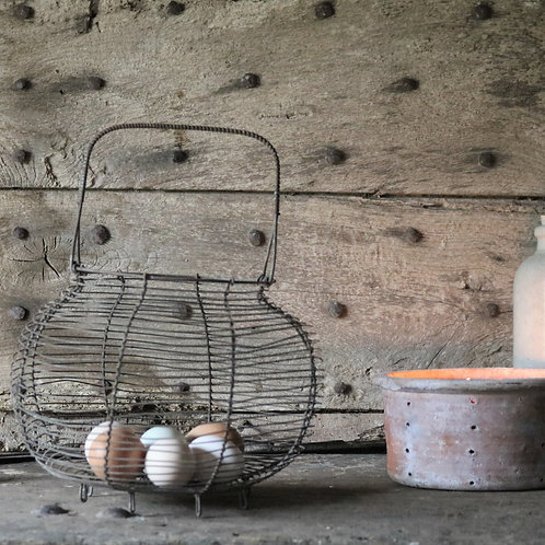 French Vintage Wirework Egg Basket