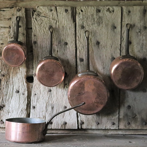 French Vintage Copper Saucepans - Set of 5