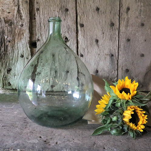 Small Green French Vintage Glass Carboy