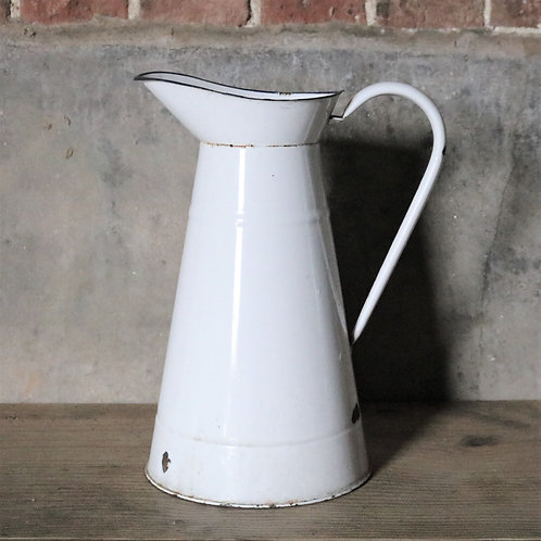 White French Vintage Enamelware Pitcher Jug