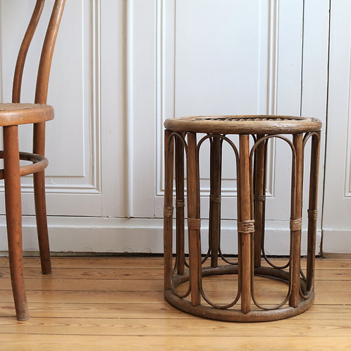 Retro Rattan Bamboo Cane Occasional Side Table