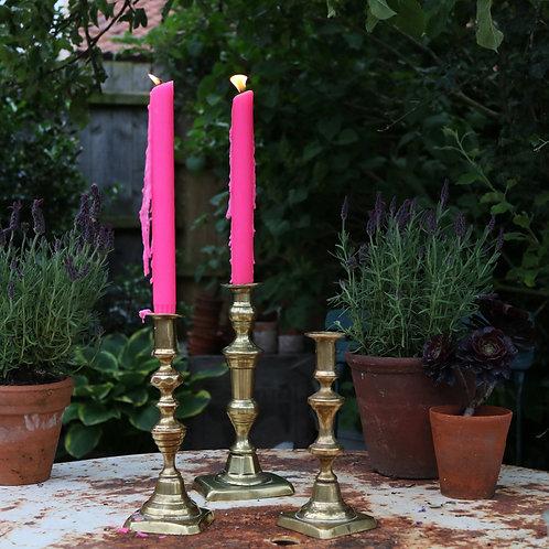 Three Mismatch Vintage Brass Candlesticks Candle Holders